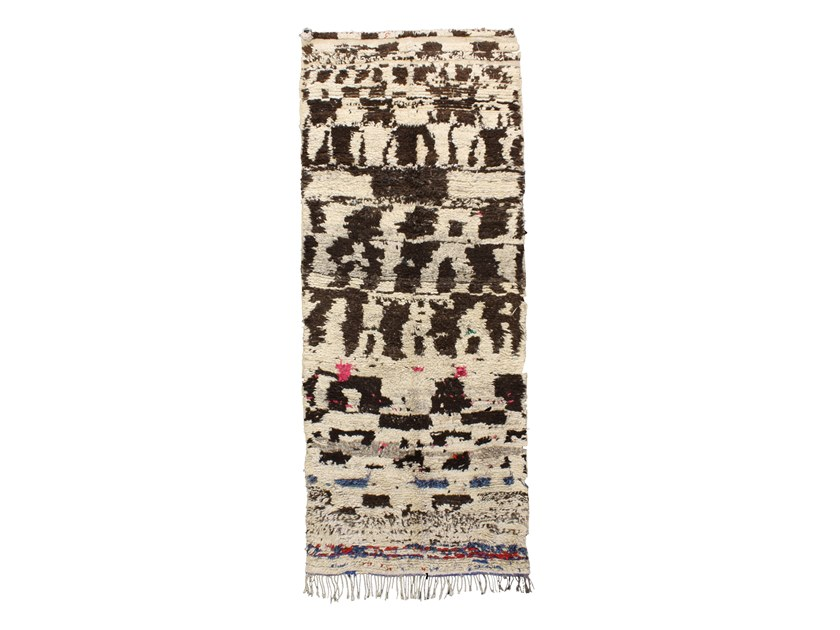 Patterned long pile rectangular wool rug AZILAL TA910BE by AFOLKI