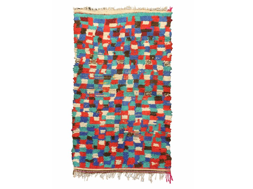 Patterned long pile wool rug AZILAL TA923BE by AFOLKI