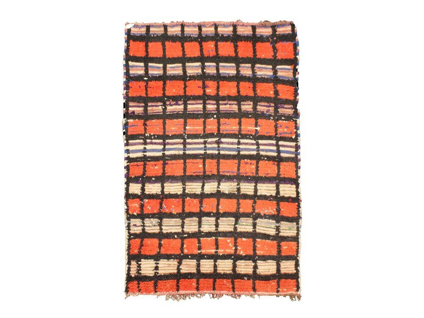 Long pile rectangular wool rug with geometric shapes AZILAL TA962BE by AFOLKI