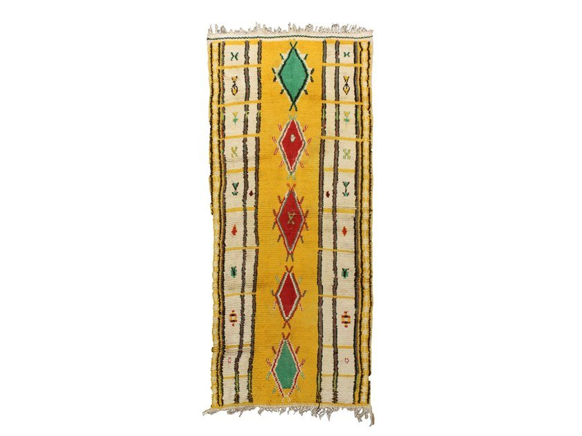 Patterned long pile rectangular wool rug AZILAL TA972BE by AFOLKI