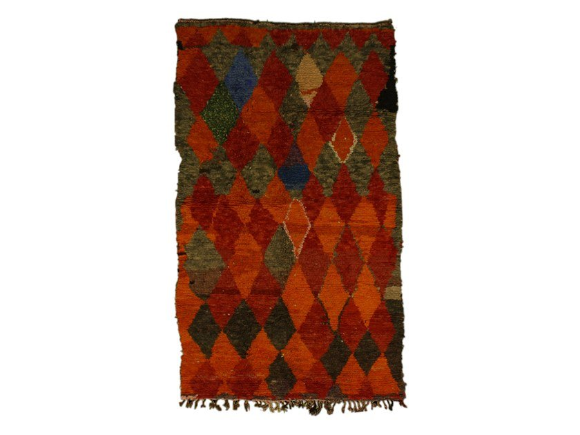 Long pile rectangular wool rug with geometric shapes AZILAL TAA1011BE by AFOLKI