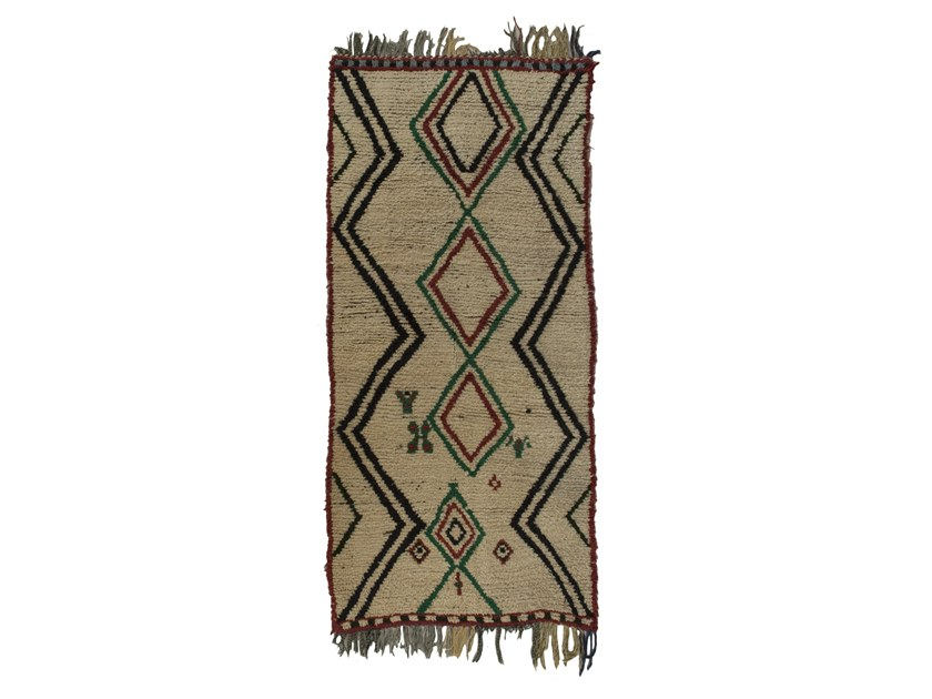 Long pile rectangular wool rug with geometric shapes AZILAL TAA1122BE by AFOLKI