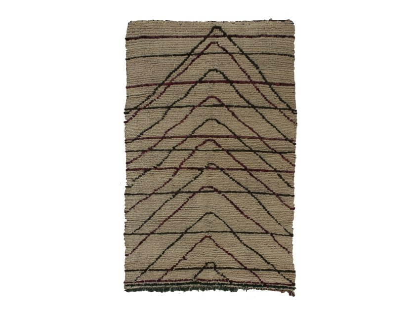 Patterned long pile rectangular wool rug AZILAL TAA1123BE by AFOLKI