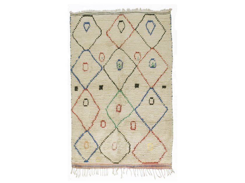 Long pile rectangular wool rug with geometric shapes AZILAL TAA1175BE by AFOLKI
