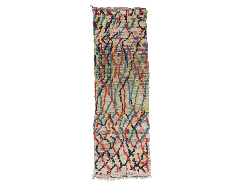 Long pile rectangular wool rug AZILAL TAA1185BE by AFOLKI