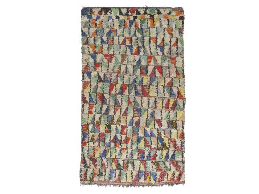 Patterned long pile rectangular wool rug AZILAL TAA1188BE by AFOLKI