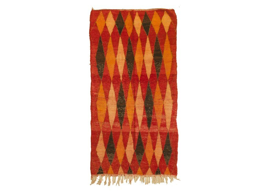 Long pile rectangular wool rug with geometric shapes AZILAL TAA1236BE by AFOLKI