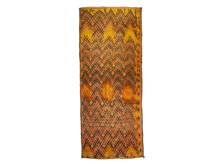 Patterned long pile rectangular wool rug AZILAL TAA1239BE by AFOLKI