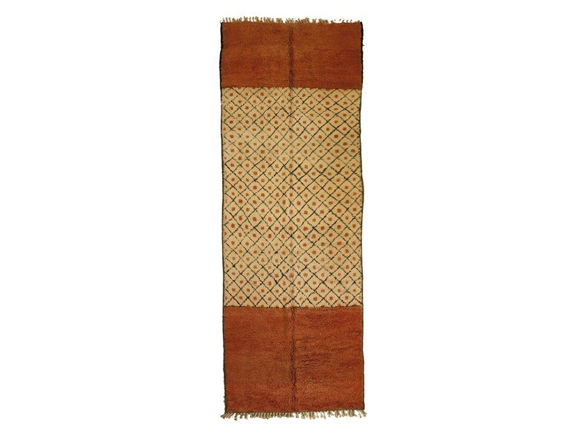 Patterned long pile rectangular wool rug AZILAL TAA1240BE by AFOLKI