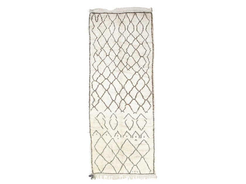 Patterned long pile rectangular wool rug AZILAL TAA1243BE by AFOLKI