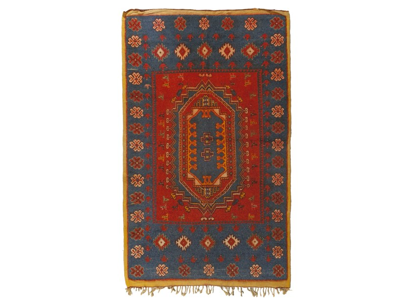 Patterned rectangular wool rug AZILAL TAA1280BE by AFOLKI