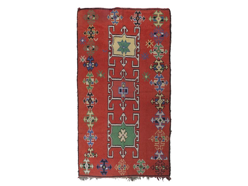 Patterned rectangular wool rug AZILAL TAA1281BE by AFOLKI