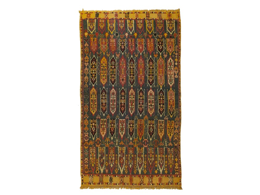 Patterned long pile rectangular wool rug AZILAL TAA1282BE by AFOLKI