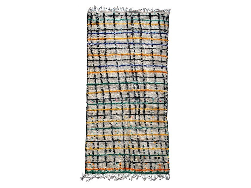 Long pile rectangular wool rug AZILAL TAA148BE by AFOLKI