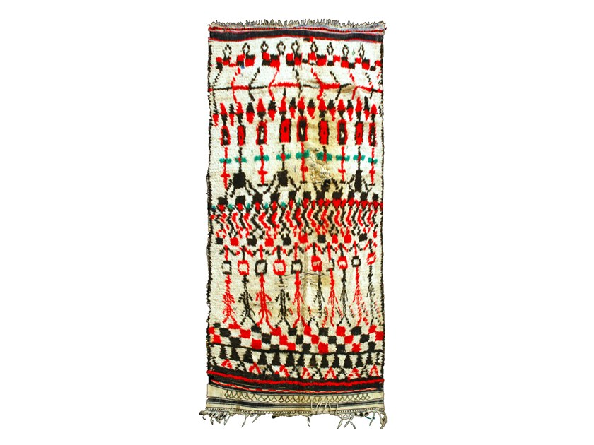 Patterned long pile rectangular wool rug AZILAL TAA173BE by AFOLKI