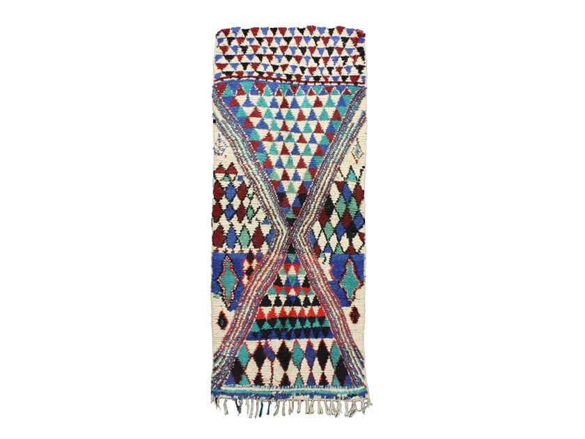 Long pile rectangular wool rug AZILAL TAA442BE by AFOLKI