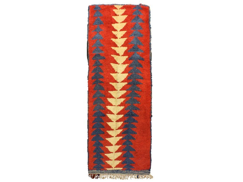 Patterned long pile wool rug AZILAL TAA537BE by AFOLKI