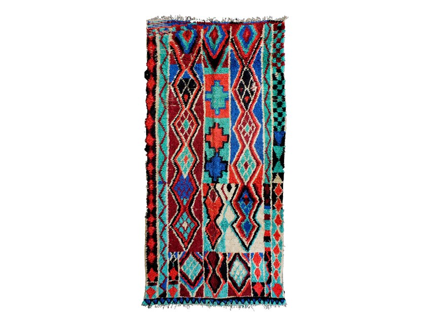 Patterned long pile wool rug AZILAL TAA611BE by AFOLKI