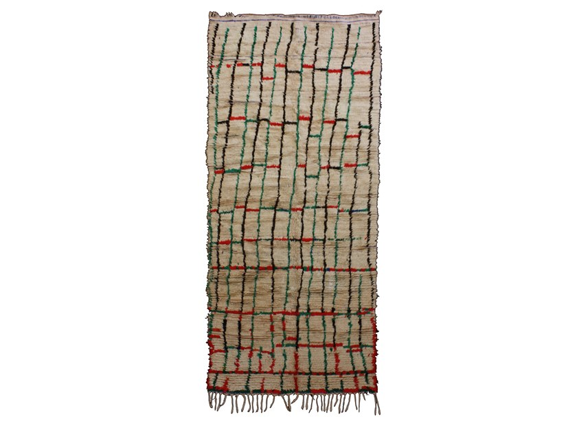 Patterned long pile rectangular wool rug AZILAL TAA695BE by AFOLKI