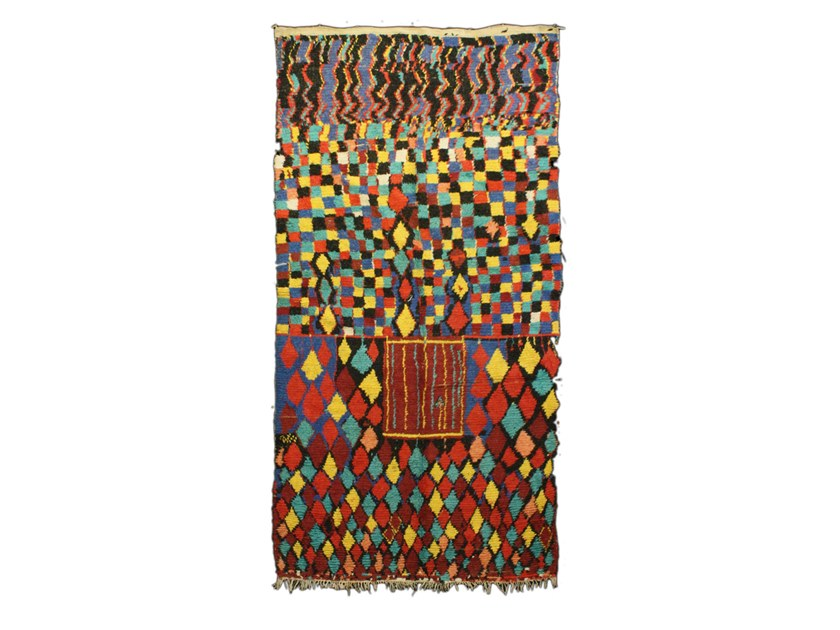 Patterned rectangular wool rug AZILAL TAA698BE by AFOLKI