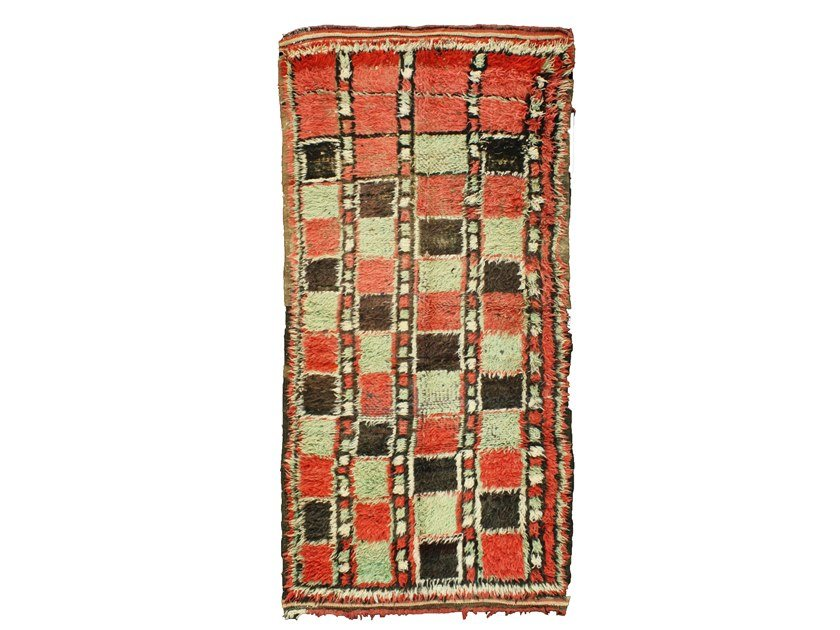 Patterned long pile wool rug AZILAL TAA702BE by AFOLKI