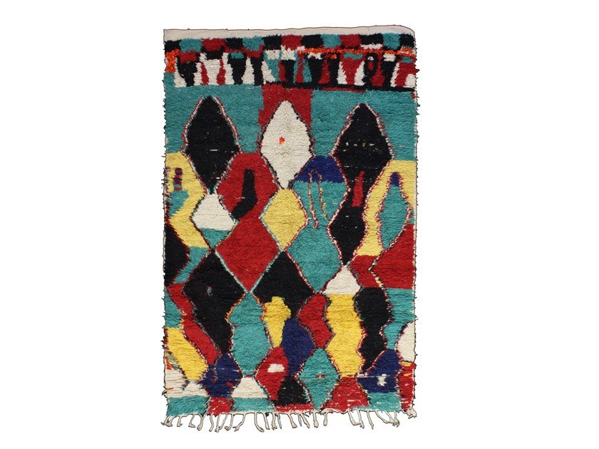 Patterned long pile wool rug AZILAL TAA737BE by AFOLKI