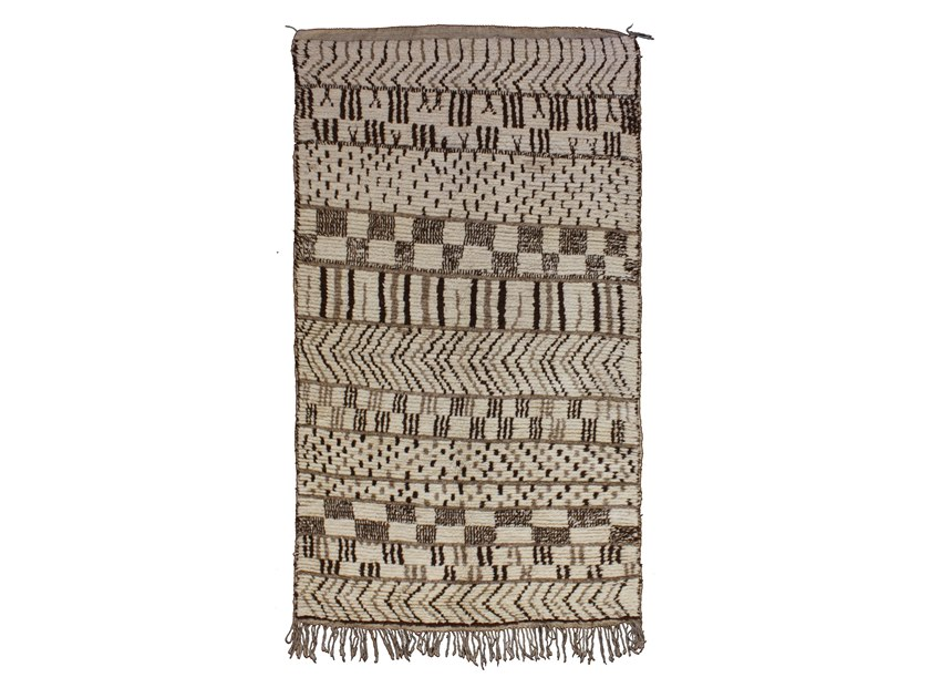 Patterned long pile rectangular wool rug AZILAL TAA738BE by AFOLKI
