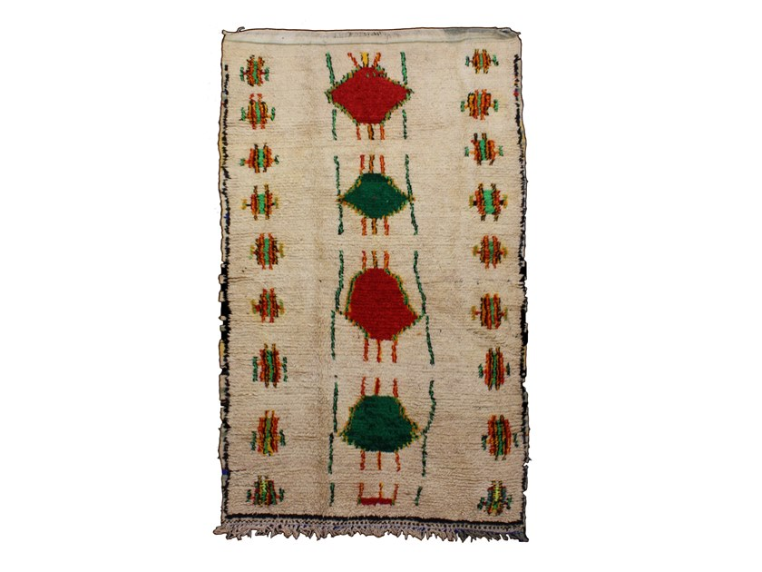 Patterned long pile rectangular wool rug AZILAL TAA747BE by AFOLKI