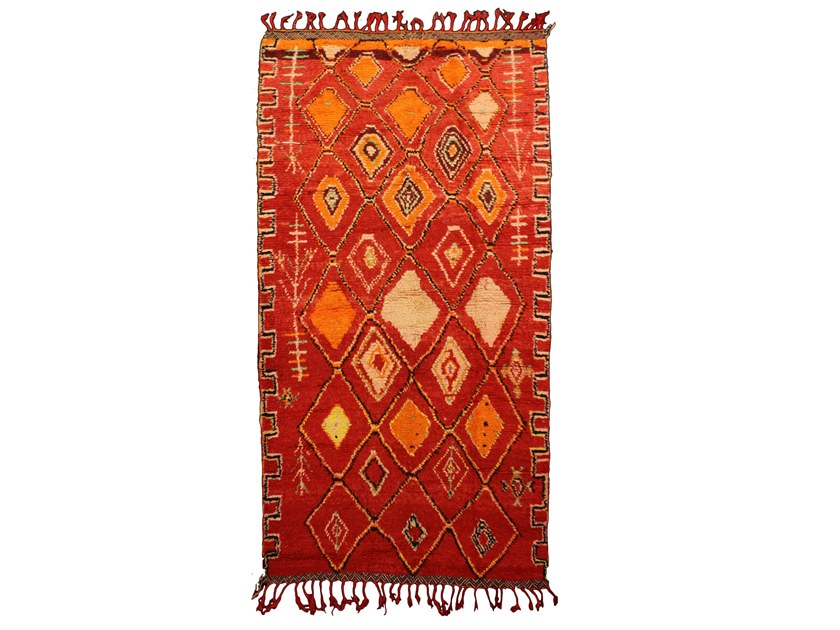 Patterned long pile rectangular wool rug AZILAL TAA753BE by AFOLKI