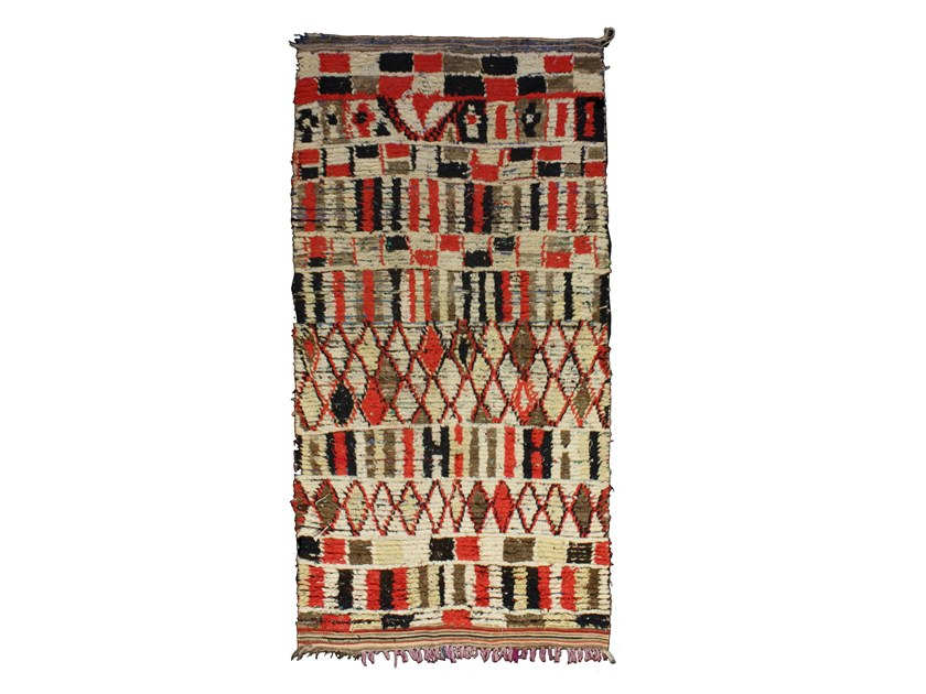 Long pile rectangular wool rug AZILAL TAA768BE by AFOLKI