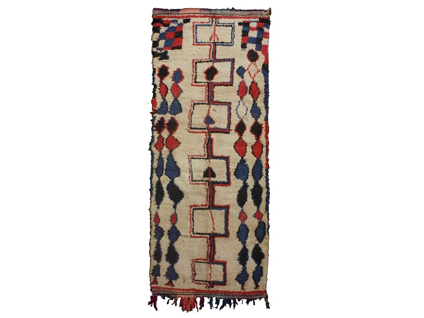 Patterned long pile rectangular wool rug AZILAL TAA821BE by AFOLKI