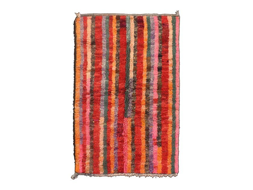 Patterned long pile rectangular wool rug AZILAL TAA822BE by AFOLKI