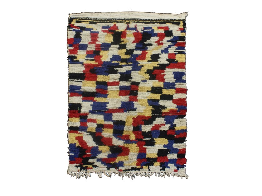 Patterned long pile wool rug AZILAL TAA850BE by AFOLKI