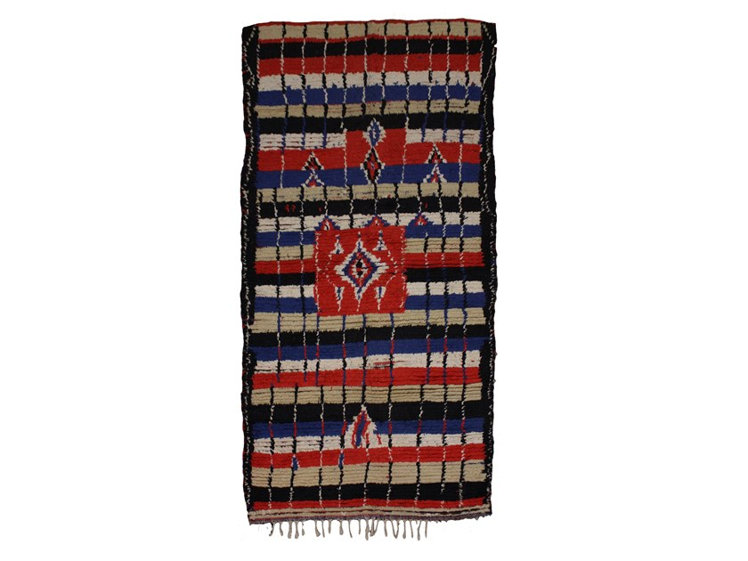Patterned long pile rectangular wool rug AZILAL TAA956BE by AFOLKI
