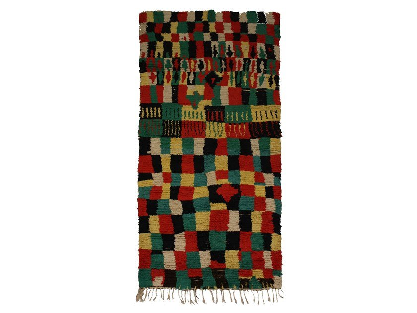 Patterned long pile wool rug AZILAL TAA957BE by AFOLKI