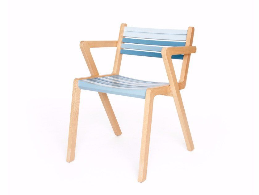 Stackable wooden chair with armrests AZUR + A ST by Z-Editions