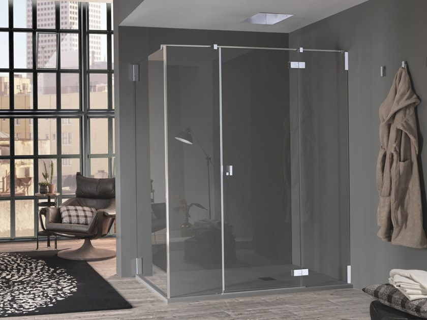 Pivot door with two fixed elements AZURE - 5 by INDA®