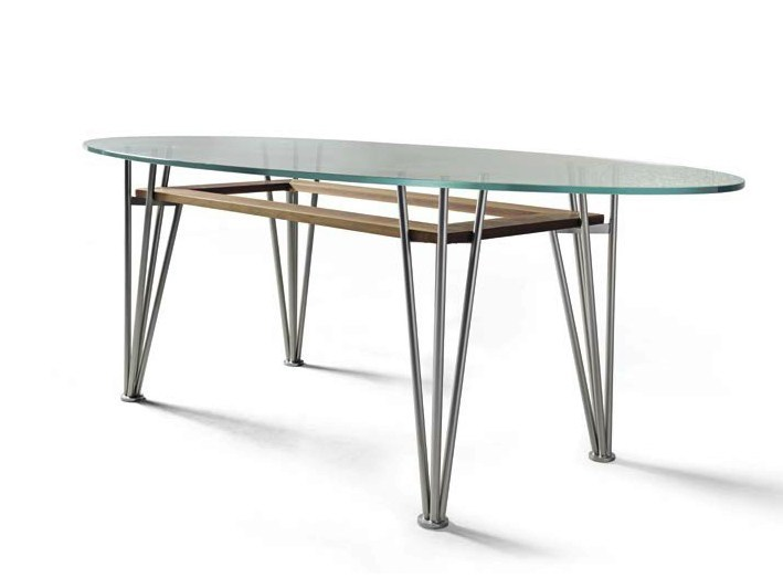 Oval steel and wood table B-183 | Table by Dale Italia