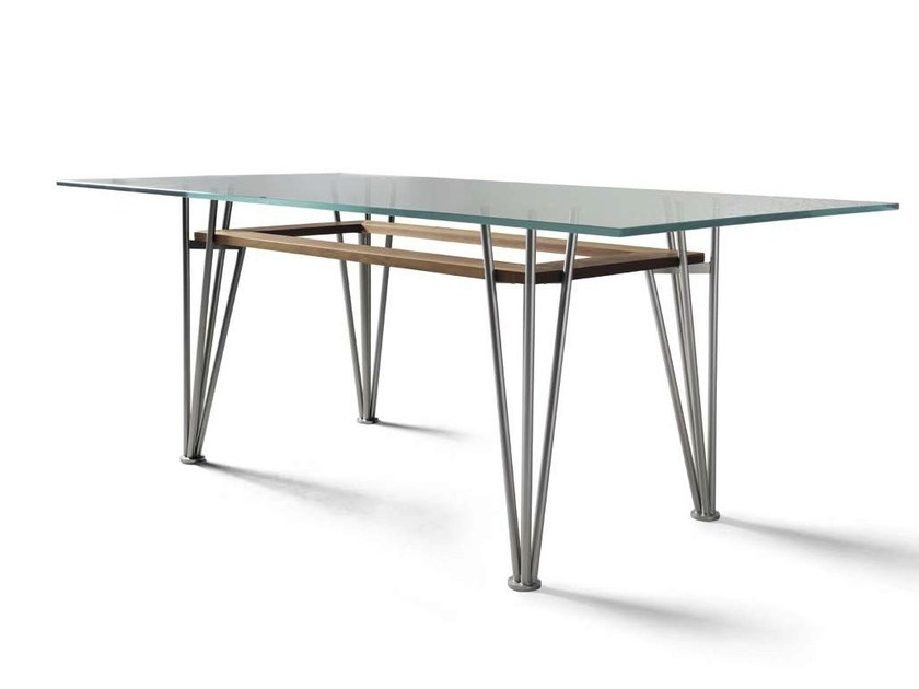 Rectangular steel and wood table B-189 | Table by Dale Italia