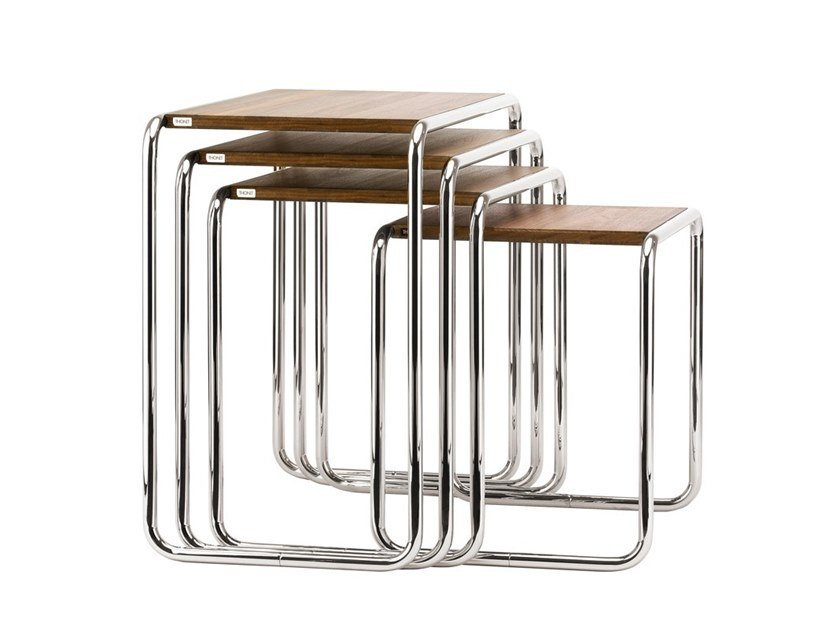 Steel and wood side table B 9 Thonet Pure Materials by Thonet