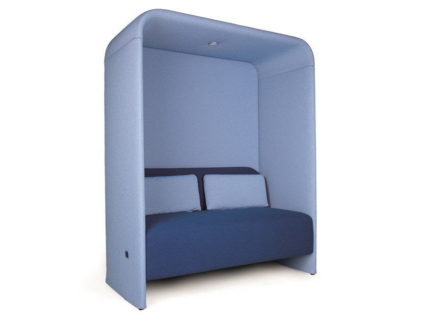Acoustic fabric office booth with built-in lights B-CONNECT CABIN DOUBLE USB by Fenabel