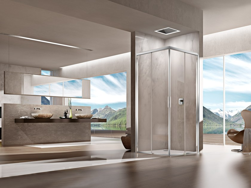 Corner rectangular shower cabin NATURA 4000 - AR-E2 L/R / A-E2 L/R by Duka