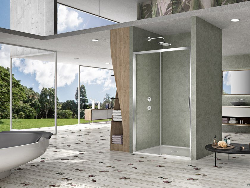 Niche shower cabin with sliding door NATURA 4000 - A-ST2N L/R by Duka