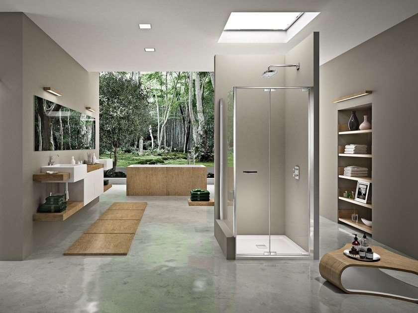 Corner shower cabin with folding door NATURA 4000 - AR-FPW L/R by Duka