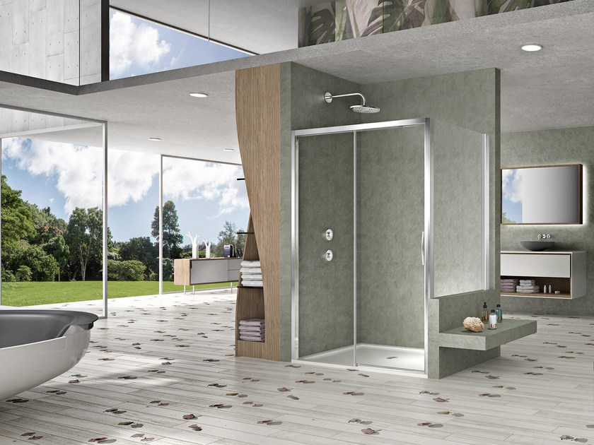 Rectangular shower cabin with sliding door NATURA 4000 - AR-ST2W / A-ST2W by Duka