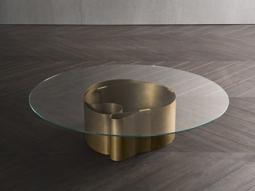 Round glass coffee table B-WAVE by Flou