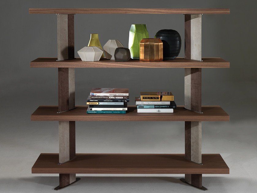 Divider wood veneer bookcase B580 by Borzalino