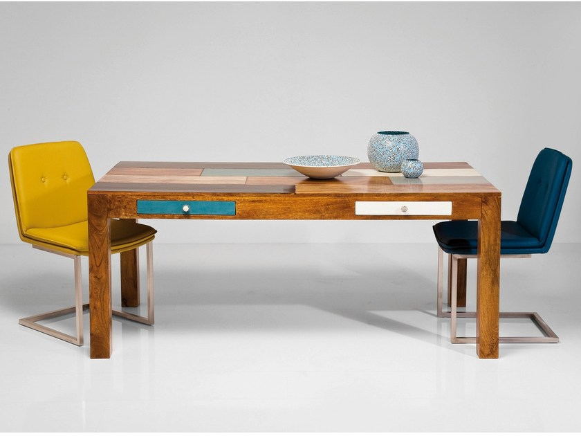 Lacquered rectangular wooden table with drawers BABALOU | Table by KARE-DESIGN