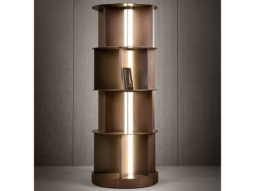 Freestanding wooden bookcase with built-in lights BABELE by Natevo