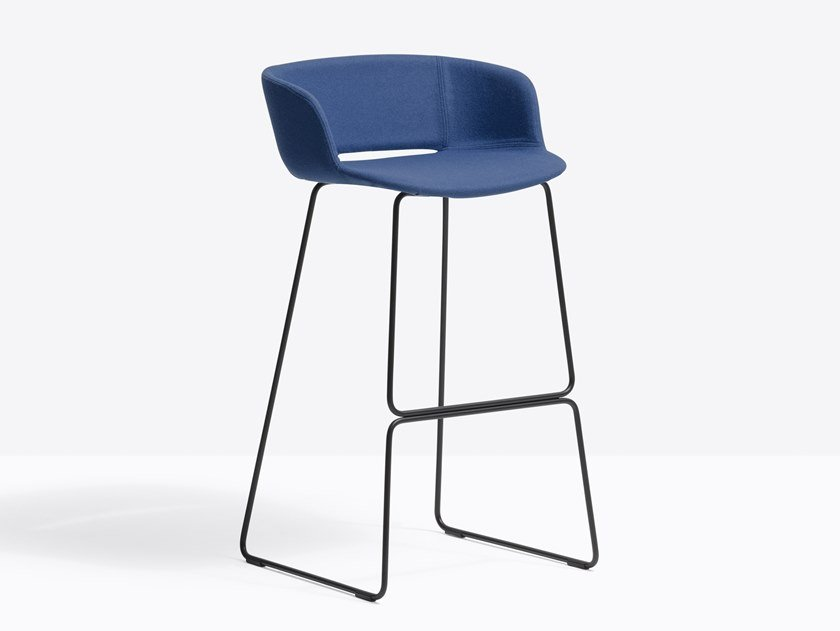 Sled base fabric stool with back BABILA 2748 by PEDRALI
